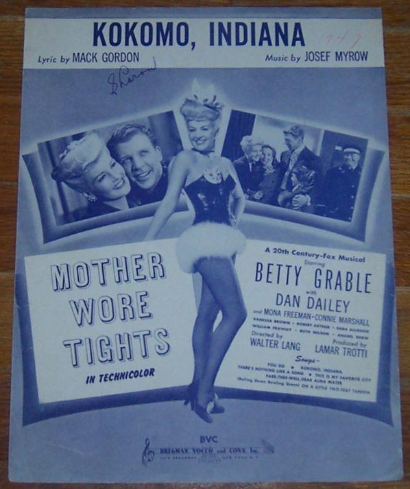 Kokomo, Indiana From Mother Wore Tights Starring Betty Grable 1947 Sheet Music