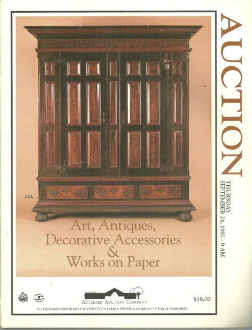 Antiques, Art, Decorative Acessories and Works on Paper 1992 Auction Catalog
