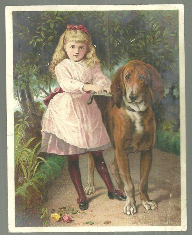 Victorian Trade Card for Dr. D. Jayne's Tonic Vermifuge with Girl and Her Dog
