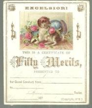 Victorian Reward of Merit. Excelsiori Certificate of Fifty Merits with Dog