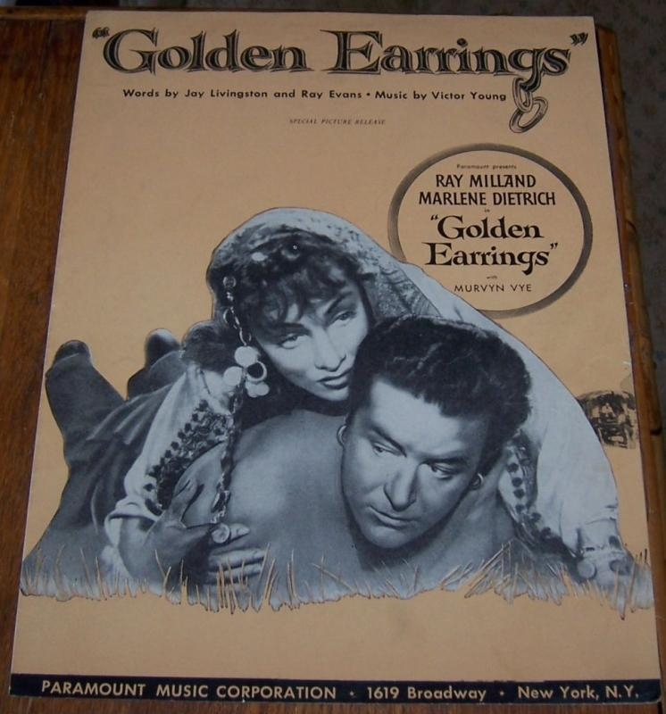 Golden Earrings Starring Ray Milland and Marlene Dietrich 1946 Sheet Music