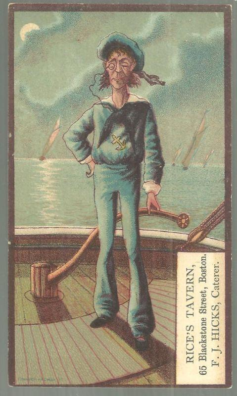 Victorian Trade Card for Rice's Tavern, Boston With Sailor and Ship