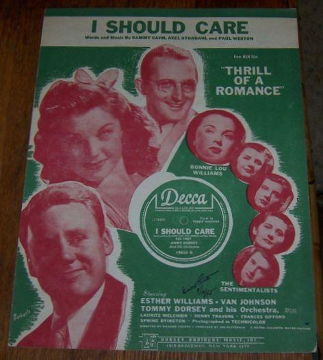 I Should Care From Thrill of a Romance Starring Esther Williams 1944 Sheet Music