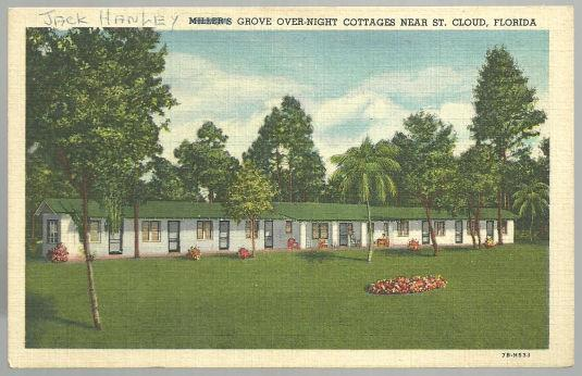 Vintage Postcard of Hanley's Grove Over-Night Rooms Cottages St. Cloud Florida