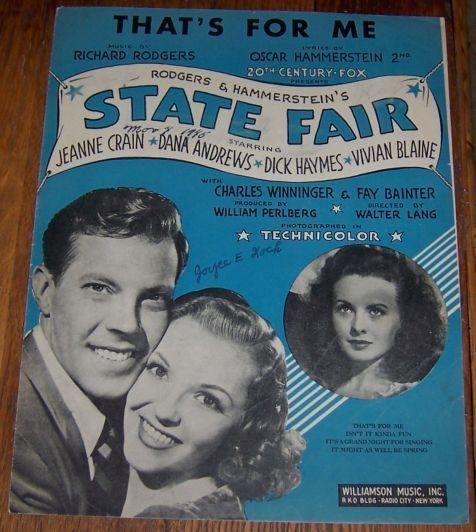 That's For Me From State Fair Starring Jeanne Crain and Dana Andrews 1945 Music