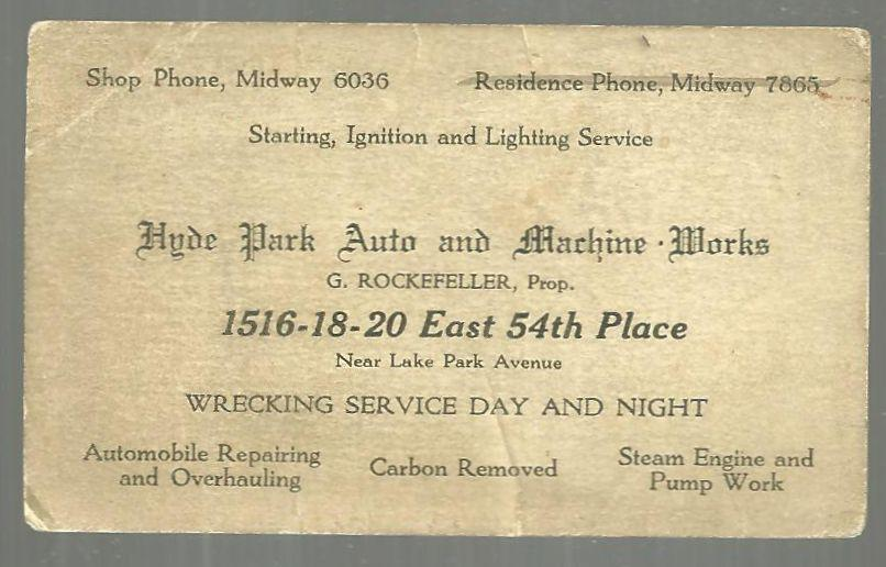 Business Card for Hyde Park Auto and Machine Works, Chicago, Illinois