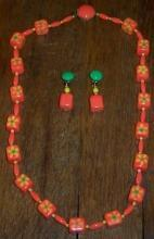 Vintage Hong Kong Very Mod Bright Orange Plastic Necklace and Matching Earrings