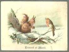 Victorian Reward of Merit with Squirrel and Bird with Winter Landscape