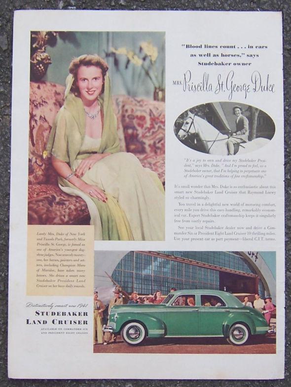 1941 Raymond Loewy Studebaker Land Cruiser Magazine Color Advertisement