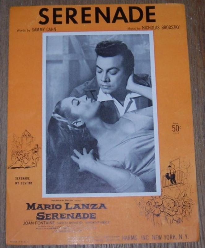 Serenade From the Movie Starring Mario Lanza and Joan Fontaine 1956 Sheet Music