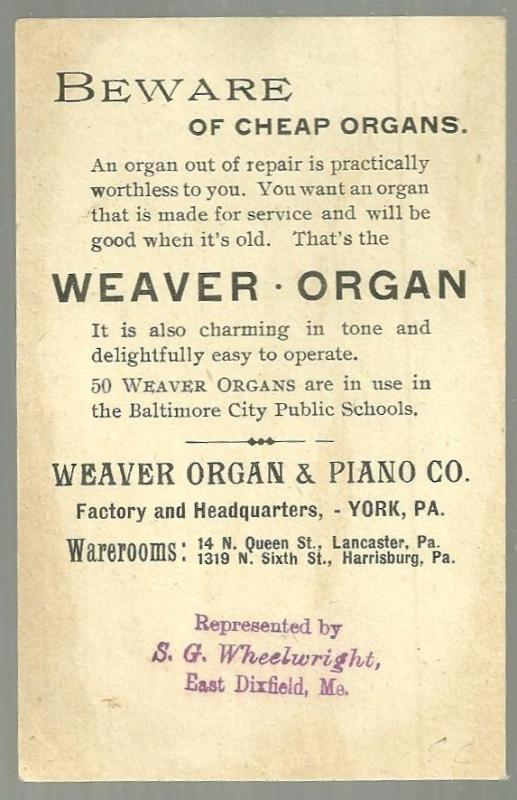Victorian Trade Card for Weaver Organ and Piano Co with Children and  Rabbit