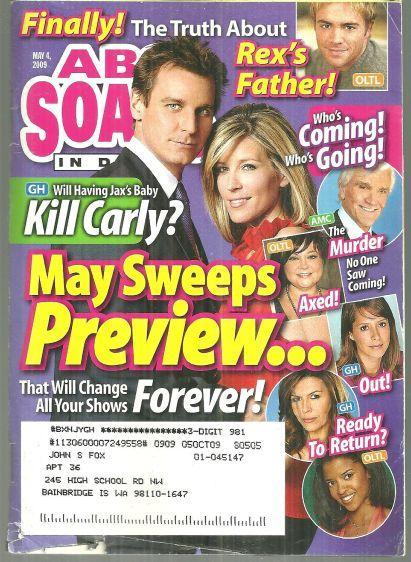ABC Soaps in Depth Magazine May 4, 2009 May Sweeps Preview On Cover