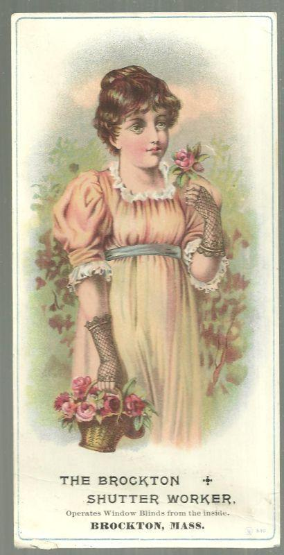Victorian Card for The Brockton Shutter Worker with Lovely Lady