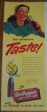 1947 Holiday Magazine Color Advertisement for Dr. Pepper That Distinctive Taste