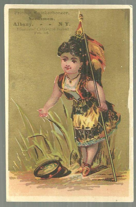 Victorian Trade Card for Price and Knickerbocker Seedsmen with Lovely Gypsy Girl