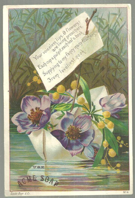 Victorian Trade Card for Acme Soap with Flower Boat and Poem
