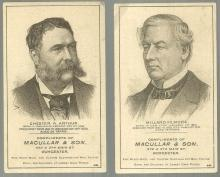 Lot of Two Victorian Trade Cards for Macullar and Son with US Presidents
