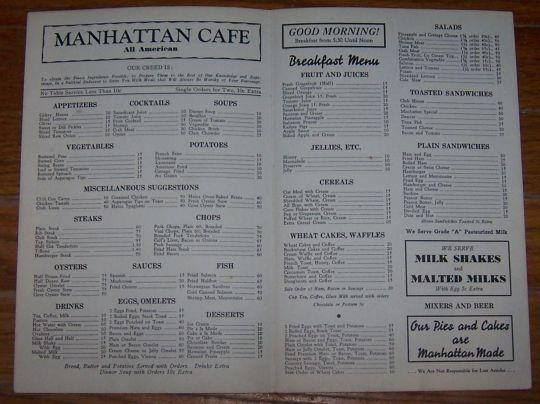 Vintage World War II Menu for Manhattan Cafe, Lewiston, Idaho 1943