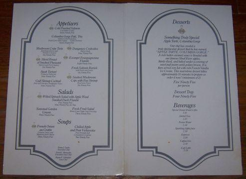 Vintage Menu for Columbia River Court, Columbia River Gorge, Hood River, Oregon