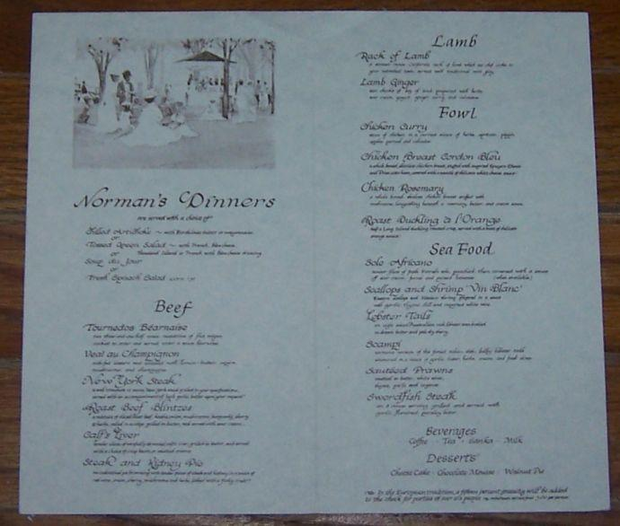 Vintage Menu for Norman's, College and Alcatraz, Berkeley, California