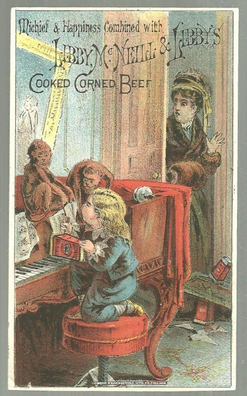 Victorian Trade Card For Libby Corned Beef Mischief and Happiness Combined