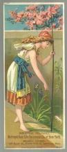 Victorian Bookmark Trade Card for The Metropolitan Life Insurance w/Lady Fishing