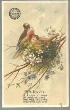 Victorian Trade Card for Clark's Mile End Spool Cotton with The Linnet Poem