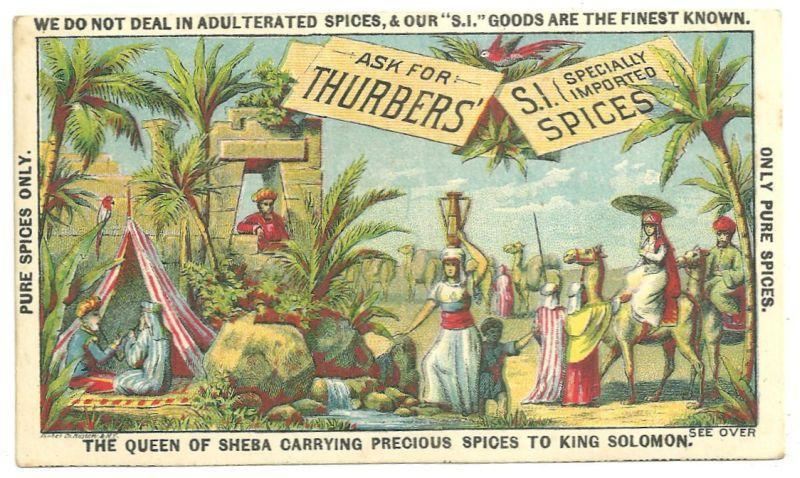 Victorian Trade Card for Thurbers' Spices with The Queen of Sheba