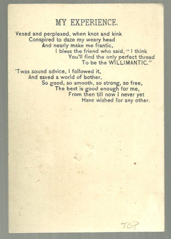 Victorian Trade Card for Willimantic Thread with Baby Holding Chalk Board w/Poem