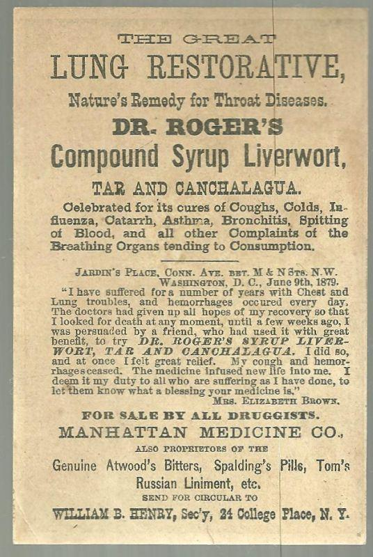 Victorian Trade Card for Dr. Roger's Compound Syrup Liverwort With Adoration