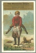 Victorian Trade Card for Worcester Organ With Boys Playing Leap Frog