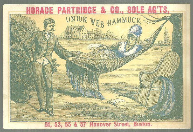 Victorian Card for Union Web Hammock with  Lovely Lady Lounging in a Hammock
