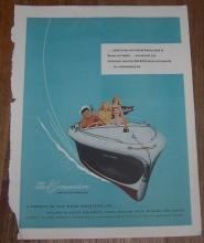 1947 Holiday Magazine Color Advertisement for Commodore De Luxe Runabout Boat