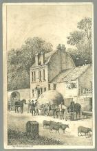 Victorian Trade Card for Domestic Sewing Machine with Rural Village Landscape