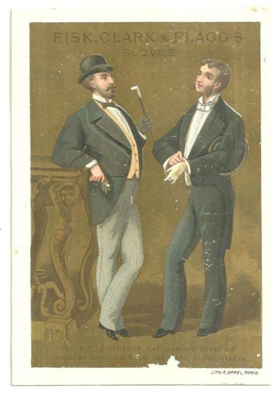 Victorian Trade Card for Fisk, Clark and Flagg's Gloves