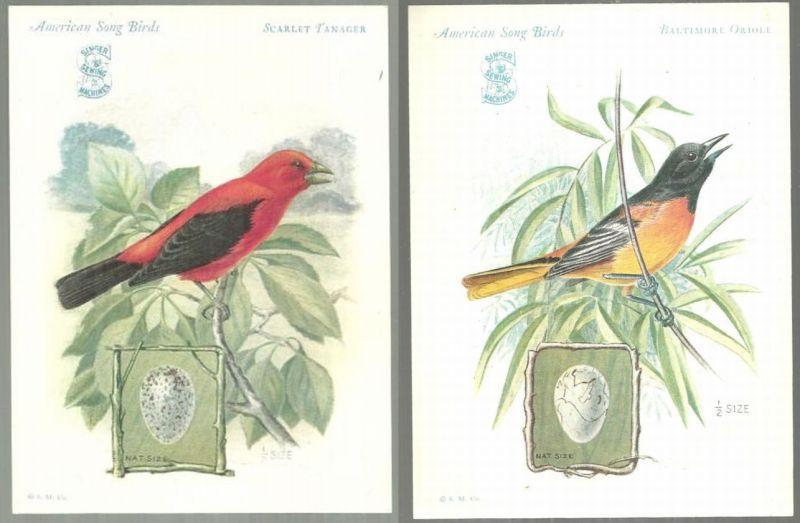 Lot of Two Victorian Trade Cards Singer Sewing Machine Song Birds Series