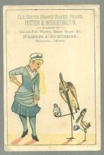 Victorian Trade Card for Old South Brand Baked Beans with Lady and Storks