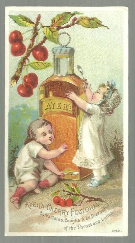 Ayer's Cherry Pectoral Victorian Trade Card With Two Babies and Medicine Bottle