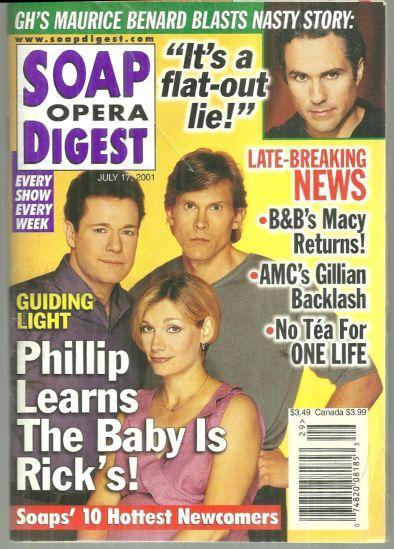 Soap Opera Digest July 17, 2001 Guiding Light, Phillip Learns the Baby is Rick's