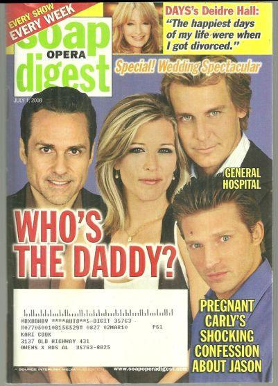Soap Opera Digest July 1, 2008 General Hospital Who's the Daddy on cover