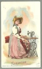Victorian Trade Card for Singer Sewing Machine with Florentine, Italy Women