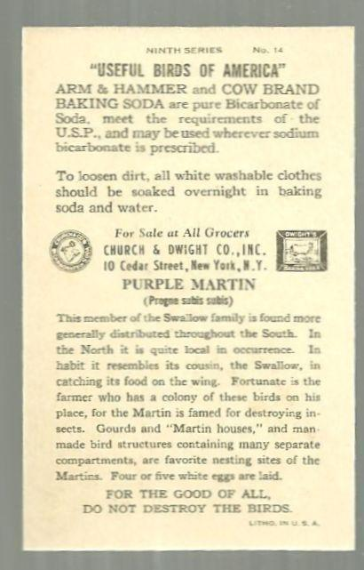 Victorian Trade Card for Church and Dwight Baking Soda with Purple Martin Bird
