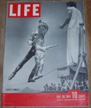 Life Magazine July 28, 1941 Circus Family on cover/Dimaggio/San Diego/DeGaulle