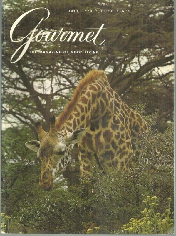 Gourmet Magazine July 1973 Kenya's Nairobi National Park on Cover/Cheese/Poitou