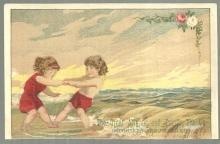 Victorian Trade Card Great Atlantic and Pacific Tea With Boy and Girl at Beach