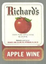 Vintage Label for Briar Richard's Apple Wine Petersburg, Virginia