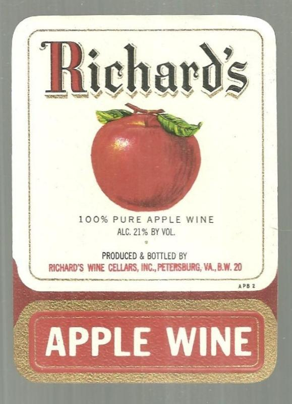 Vintage Label for Briar Richard's Apple Wine Petersburg, Virginia