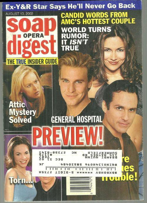 Soap Opera Digest Magazine August 13, 2002 General Hospital Preview on the Cover