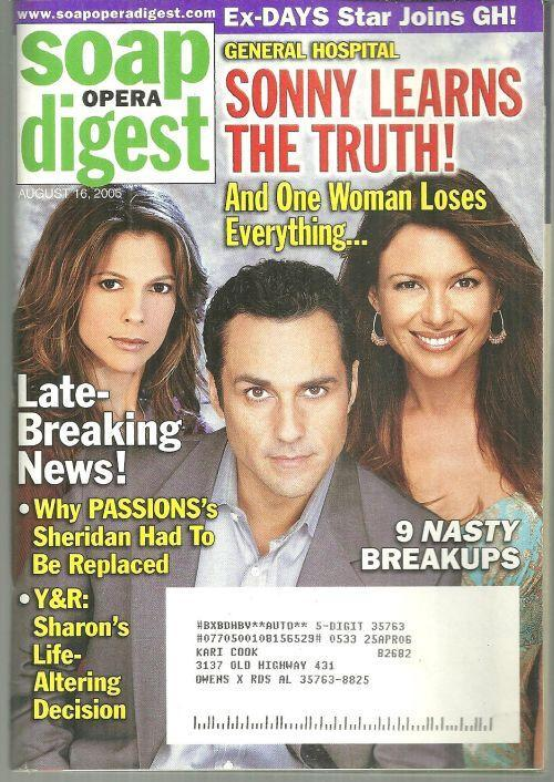 Soap Opera Digest Magazine August 16, 2005 GH Sonny Learns the Truth on Cover