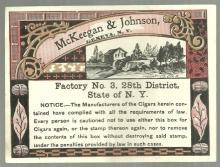 McKeegan & Johnson, Geneva, New York Cigar Label. Factory No. 3